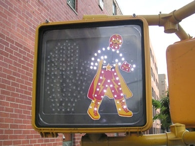 super-hero walk sign