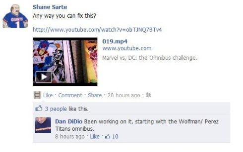 Dan DiDio's Facebook response