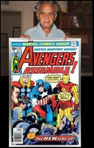 Jack Kirby with Avengers cover