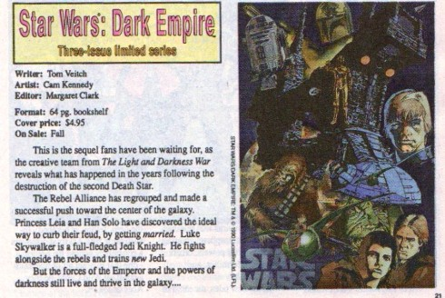Marvel Age Preview #1 p 21 Star Wars Dark Empire preview